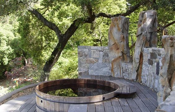 wooden hot tub feature