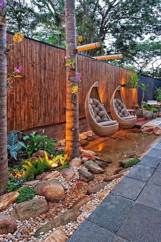 Fence Lighting: Earthy Oasis View
