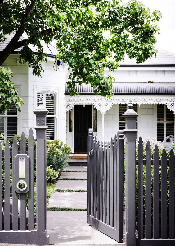 Front Yard Fence: Solid Black Fence