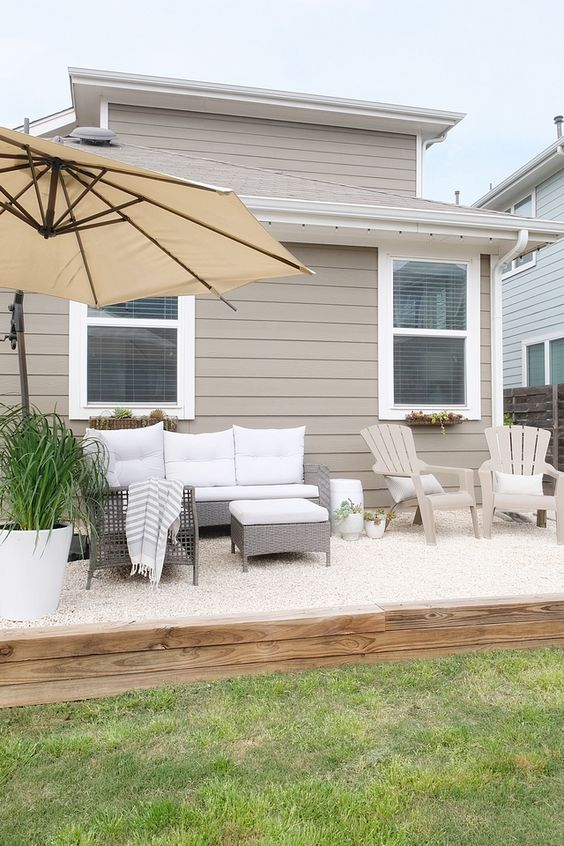 Gravel Patio Ideas: Neutral Backyard View