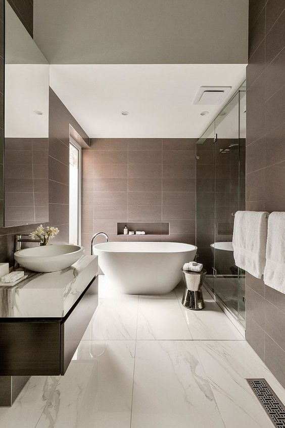 Contemporary Bathroom Ideas: Calming Earthy Color