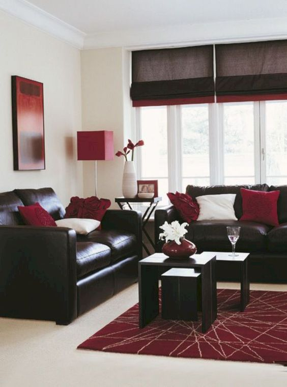 Living Room Brown Ideas: Brown and Maroon