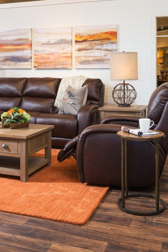 Living Room Brown Ideas: Brown and Orange