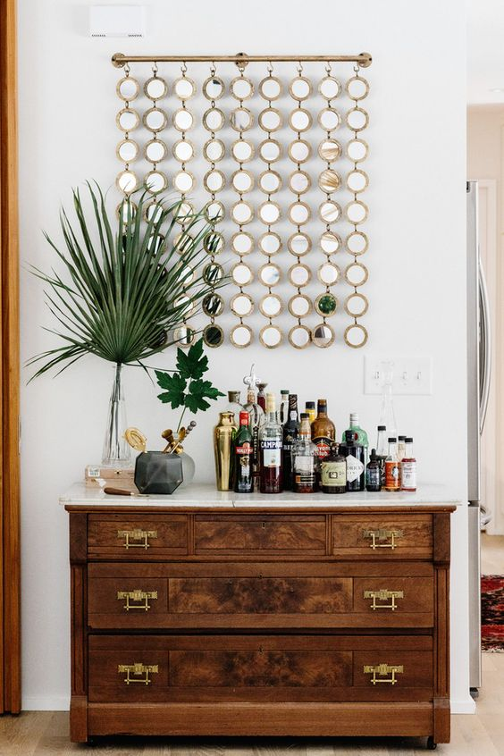 Dining Room Bar Ideas: Vintage Wooden Table