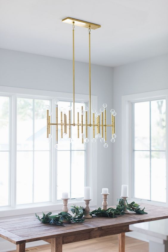 Dining Room Chandelier Ideas: Temporary Gold Chandelier