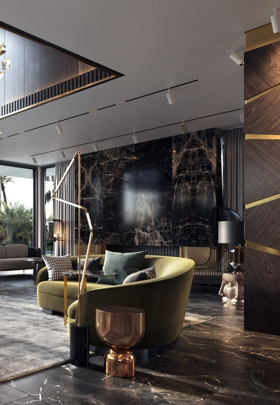 Living Room Luxury Ideas: Classy Black and Gold