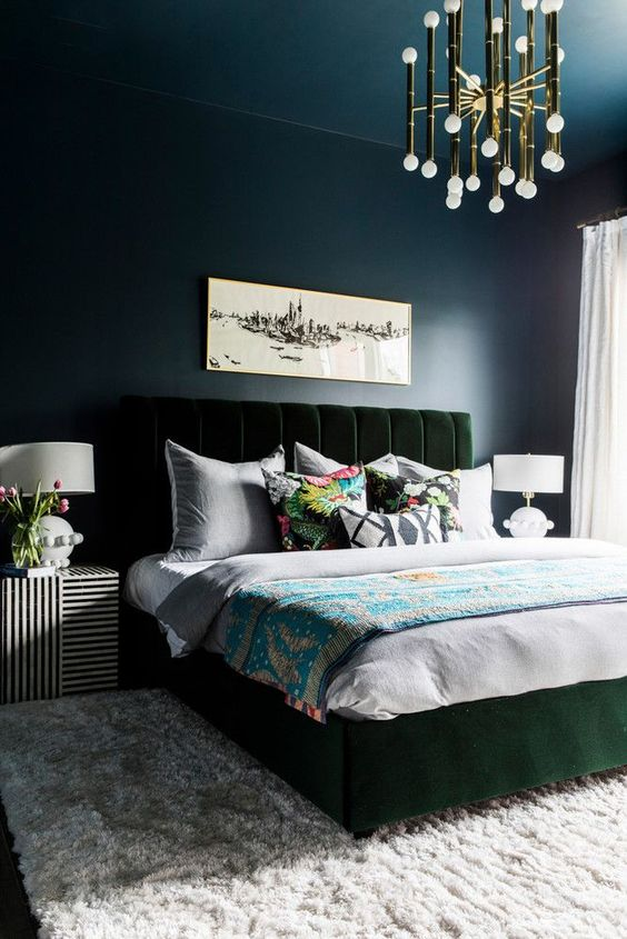 Dark Bedroom Ideas: Masculine Dark Navy