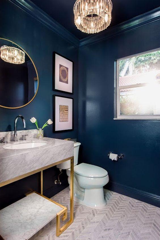 Blue Bathroom Ideas: Bold Elegant Navy