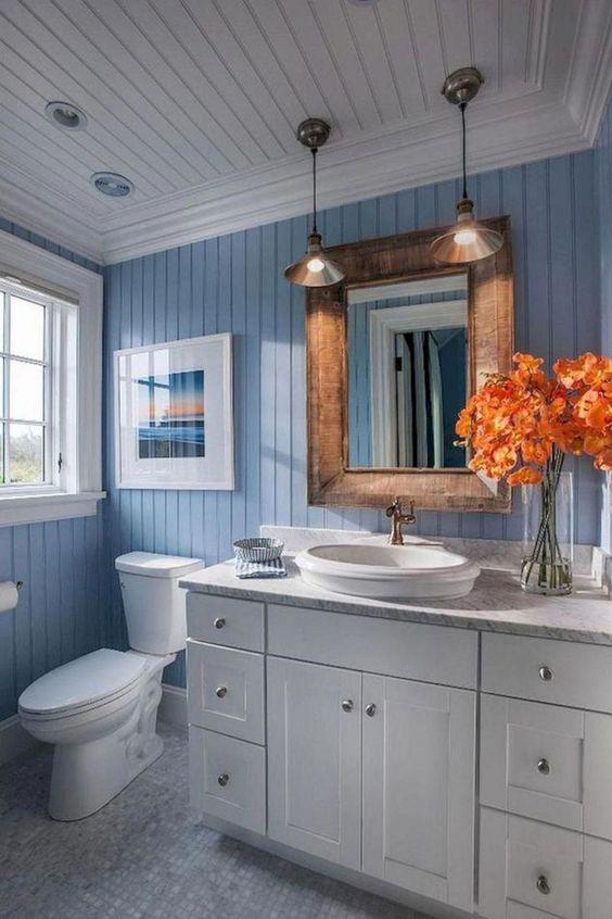 Blue Bathroom Ideas: Stunning Rustic Vintage