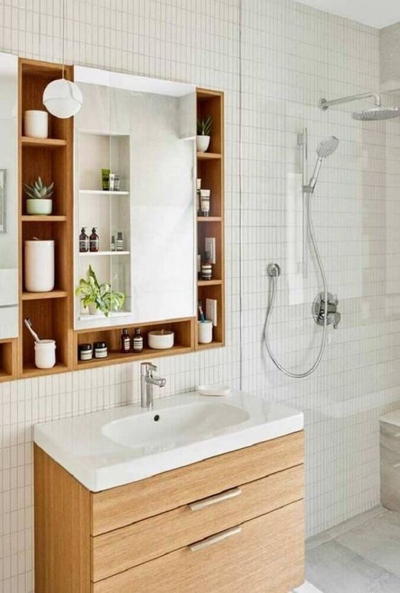 Bathroom Mirror Ideas: Functional Mirror Shelf
