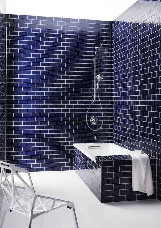 Bathroom Tile Ideas: Striking Navy Tiles