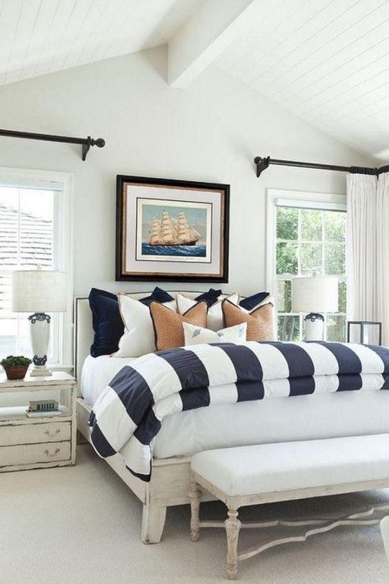 Beach Bedroom Ideas: Monochromatic Beach Bedroom
