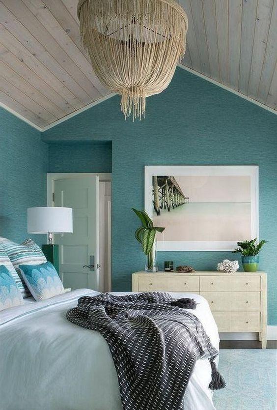 Beach Bedroom Ideas: Unique Light Turquoise