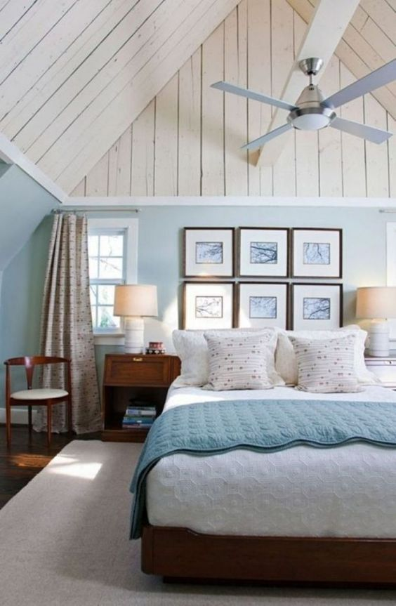 Beach Bedroom Ideas: Relaxing High Ceiling