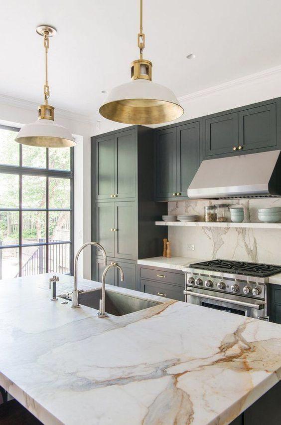 Kitchen Lighting Ideas: Elegant Golden Pendants