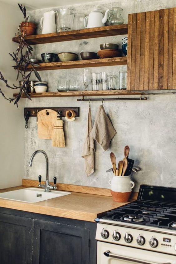 Kitchen Shelves Ideas: Earthy Rustic Shelves