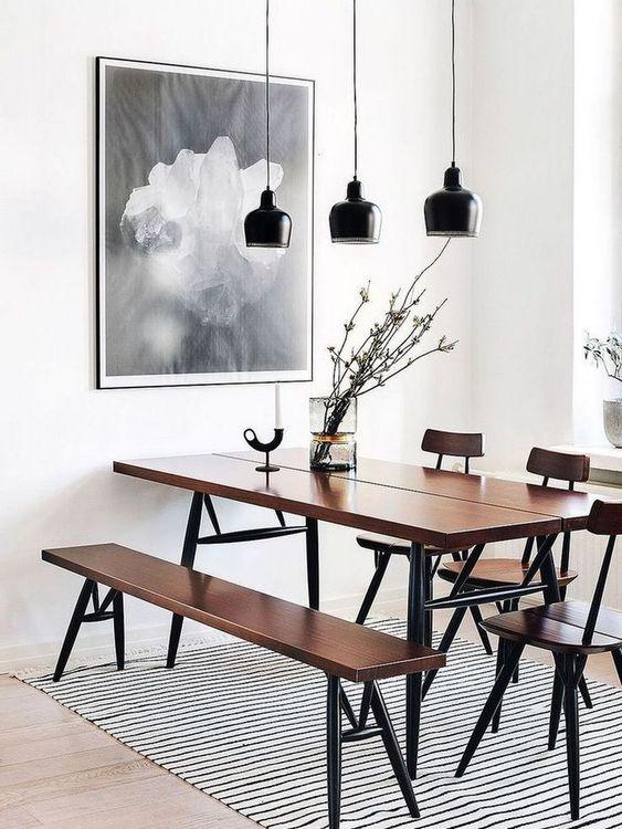 Minimalist Dining Room Ideas: Casual Dining Bench