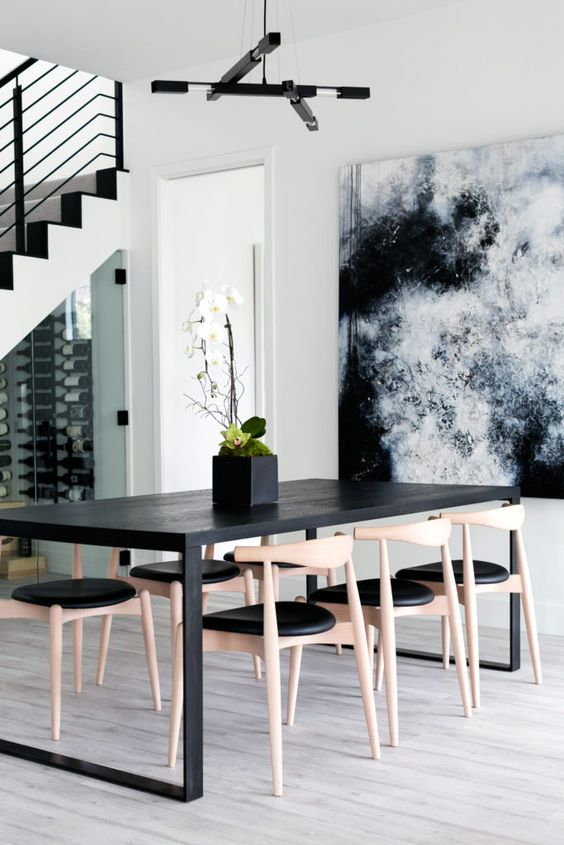 Minimalist Dining Room Ideas: Chic Black and White