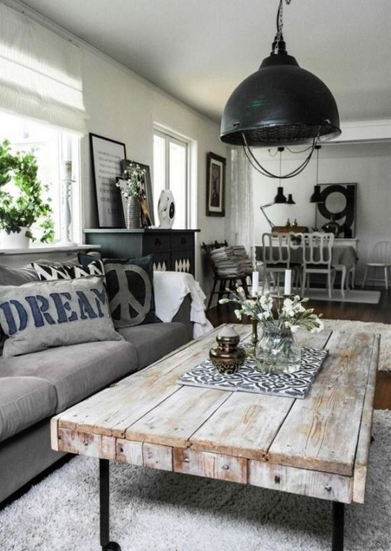 Rustic Living Room Ideas: Rustic Industrial Concept