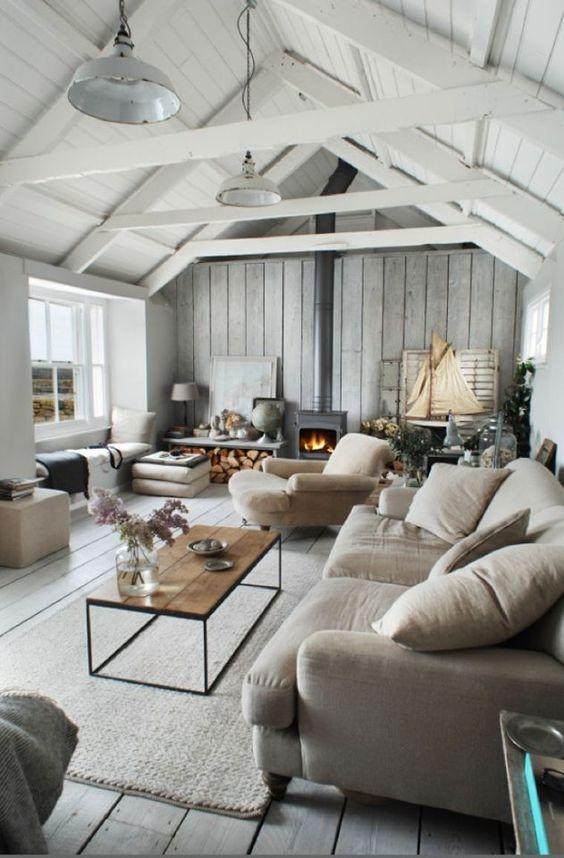 Rustic Living Room Ideas: Elegant Gray Color