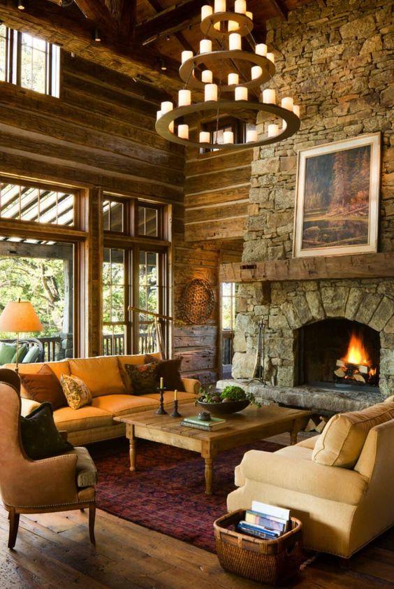 Rustic Living Room Ideas: Contemporary Rustic Concept