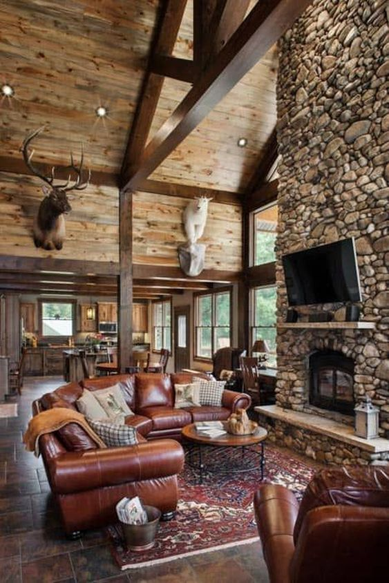 Rustic Living Room Ideas: Outstanding Rocky Look