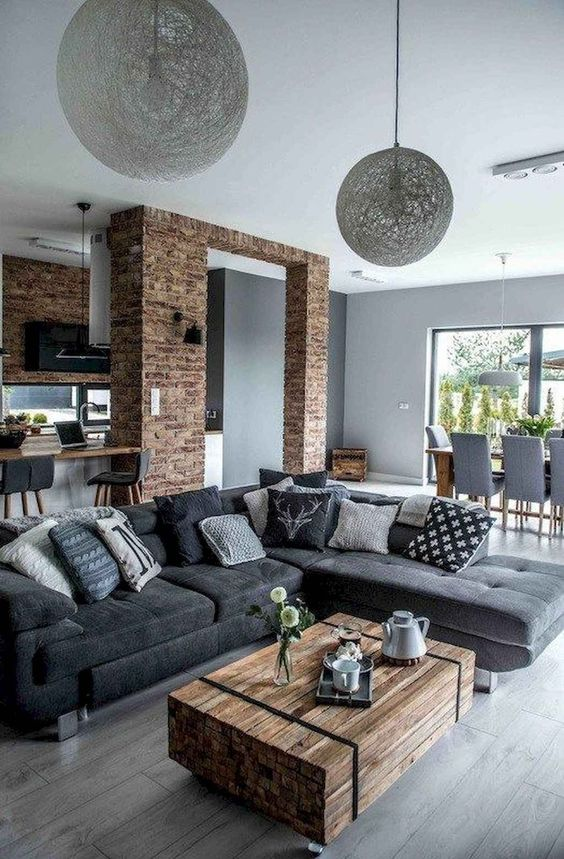Rustic Living Room Ideas: Captivating Exposed Bricks