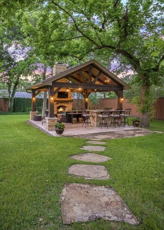 Backyard Kitchen Ideas: Romantic Earthy Gazebo