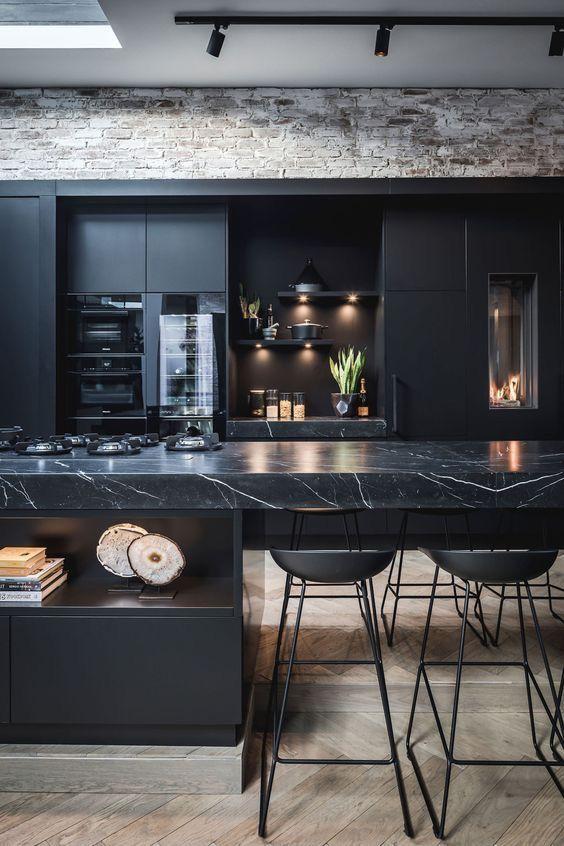 Dark Kitchen Ideas: Masculine Black Marble