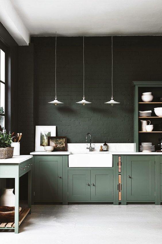 Dark Kitchen Ideas: Dark Painted Wall