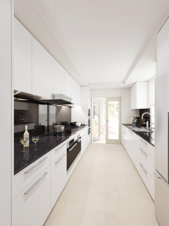 Galley Kitchen Ideas: Minimalist Monochrome Look