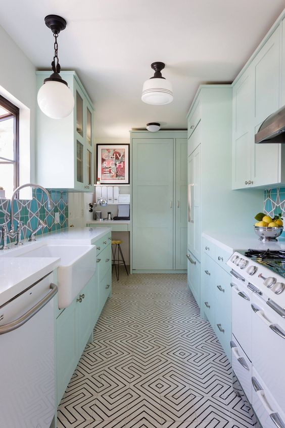Galley Kitchen Ideas: Lovely Retro Concept