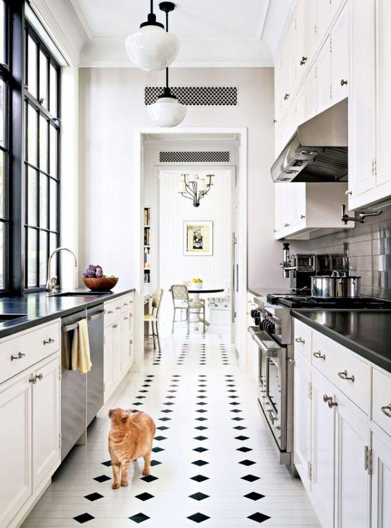 Galley Kitchen Ideas: Trendy Monochromatic Accent