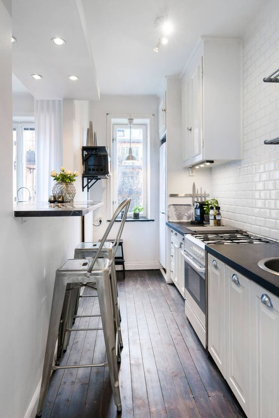 Galley Kitchen Ideas: Captivating All-White Concept