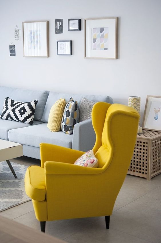 Grey Living Room Ideas: Eye-Catching Popped Color