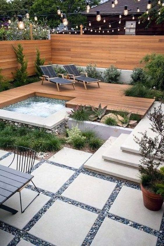 Hot Tub Landscaping: Unique Inground Tub