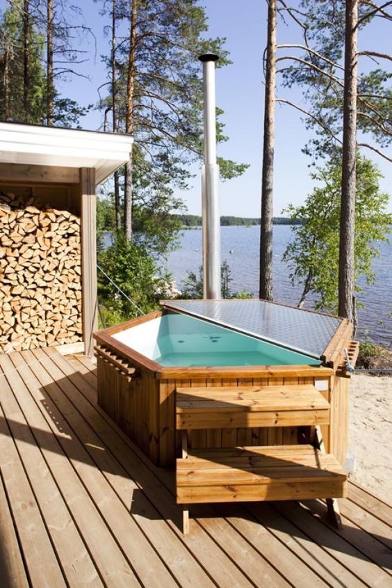 Hot Tub Landscaping: Wood-Fired Wooden Tub