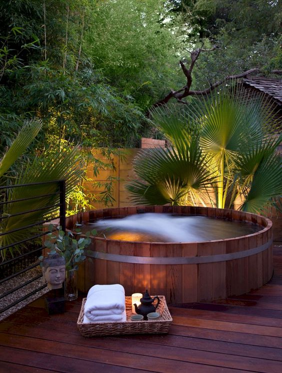 Hot Tub Landscaping: Earthy Round Tub