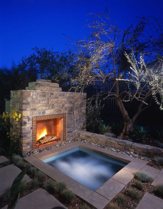 Hot Tub Landscaping: Rocky Inground Tub