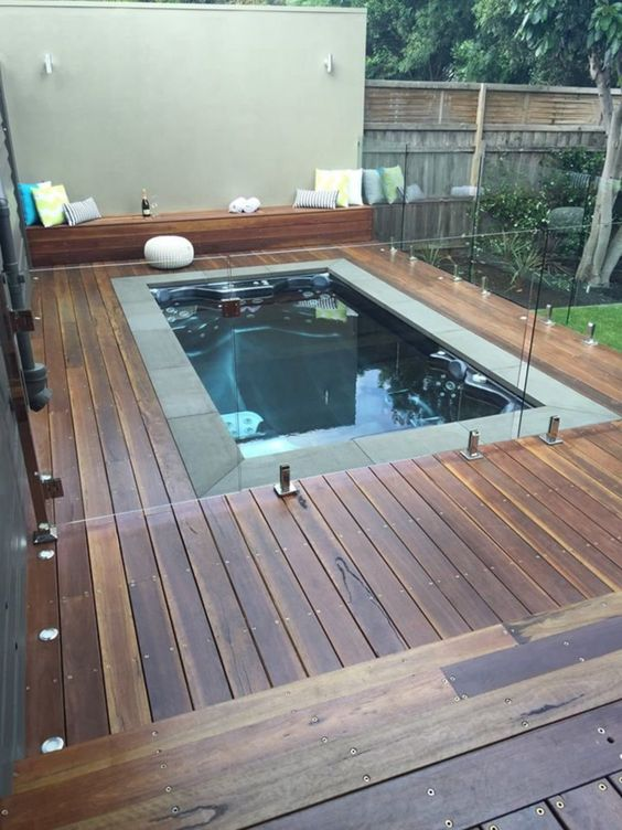 Hot Tub Patio: Stunning Dark Wood