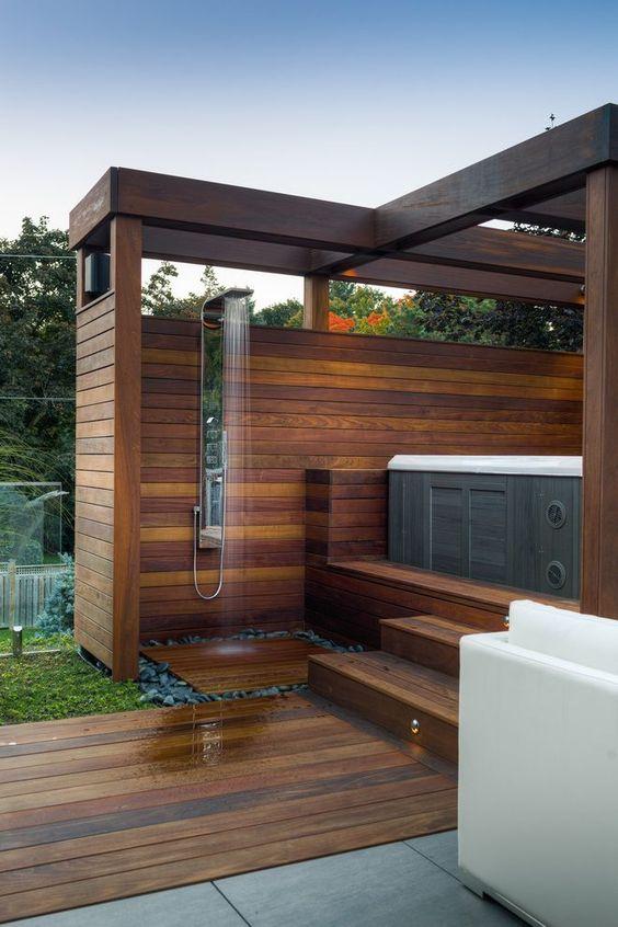 Hot Tub Patio: Relaxing Dark Wood Patio