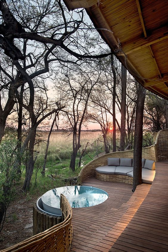 Hot Tub Patio: Simple Wood Patio