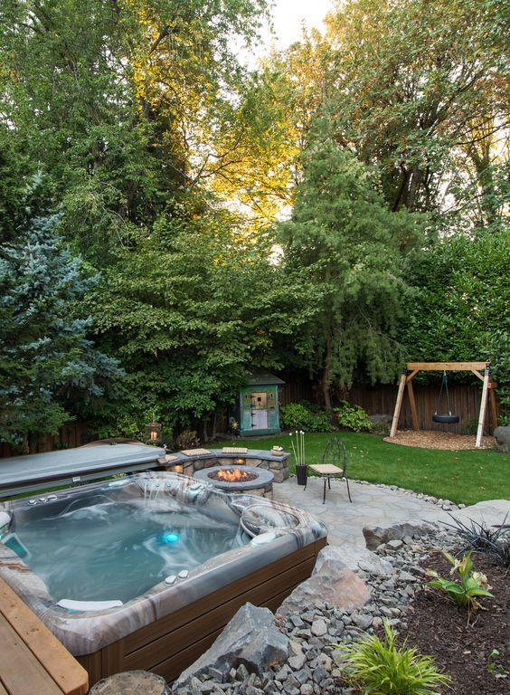 Hot Tub Patio: Natural Raw Landscaping