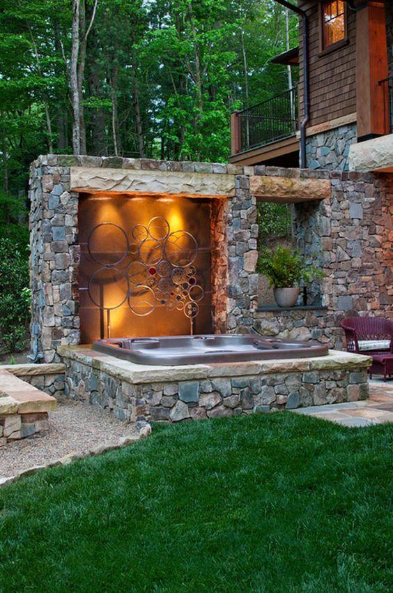 Hot Tub Patio: Gravel and Concrete Tiles