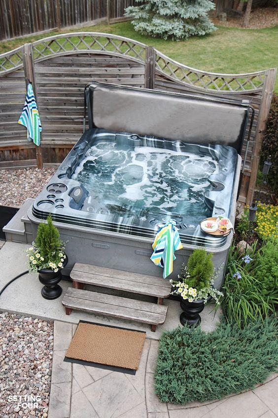 Hot Tub Patio: Earthy Concrete Tiles