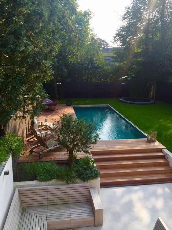 Rectangle Swimming Pool Ideas: Stunning Wooden Deck