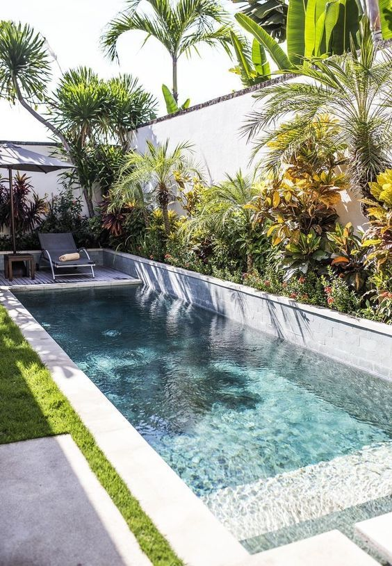 Rectangle Swimming Pool Ideas: Outstanding Tropical Decor