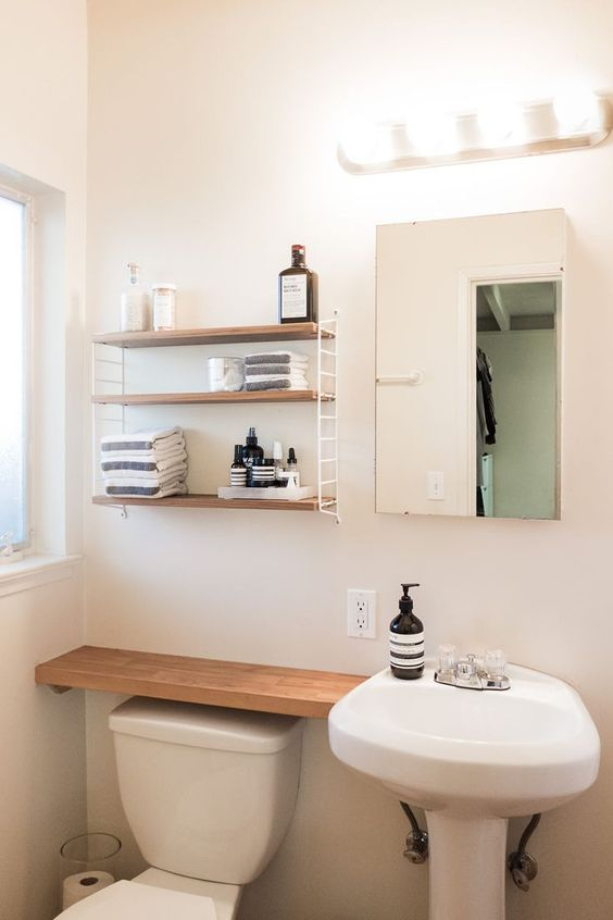 Bathroom Organization Ideas: Minimalist Floating Shelves