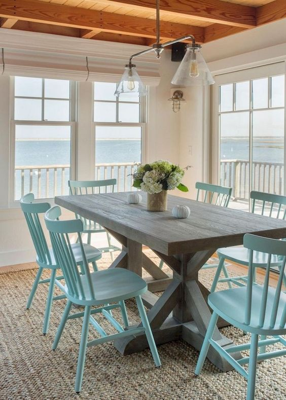 Coastal Dining Room Ideas: Simple Beachy Farmhouse