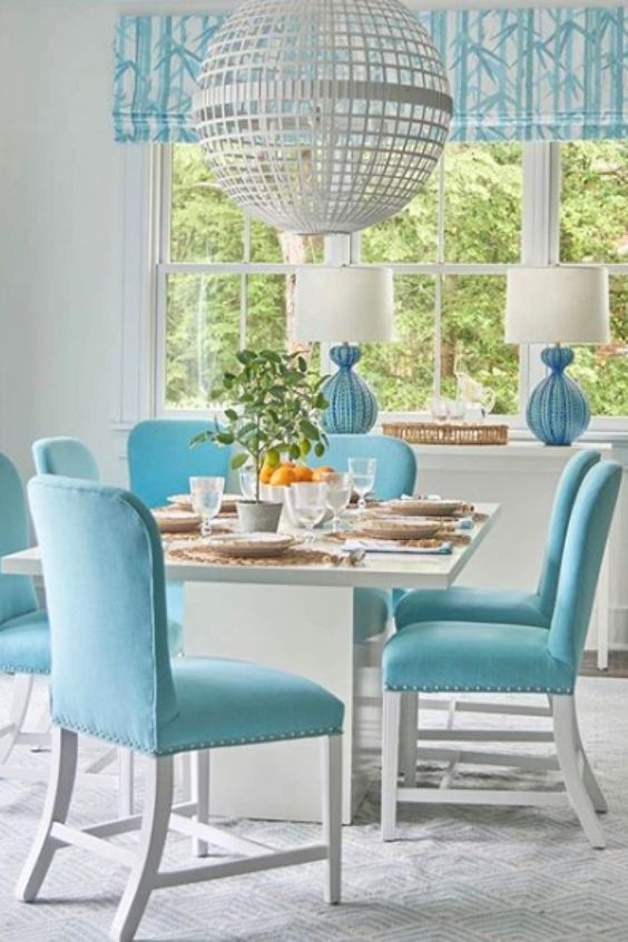 Coastal Dining Room Ideas: Fresh Bright Blue